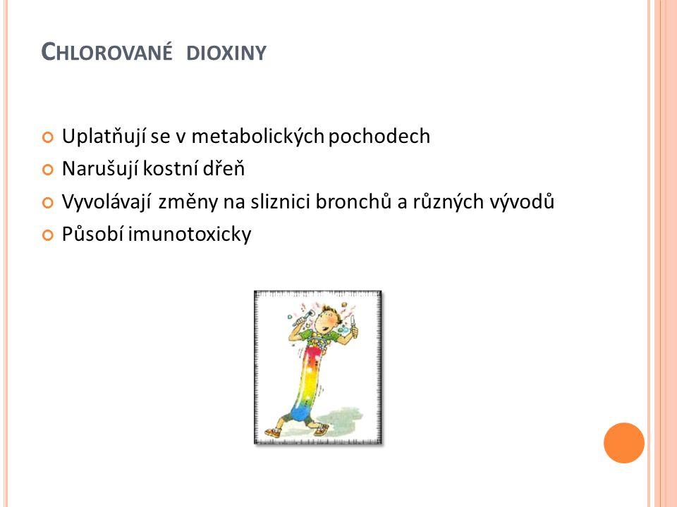 C HLOROVANÉ DIOXINY Uplatňují se v metabolických pochodech Narušují kostní dřeň Vyvolávají změny na sliznici bronchů a různých vývodů Působí imunotoxi
