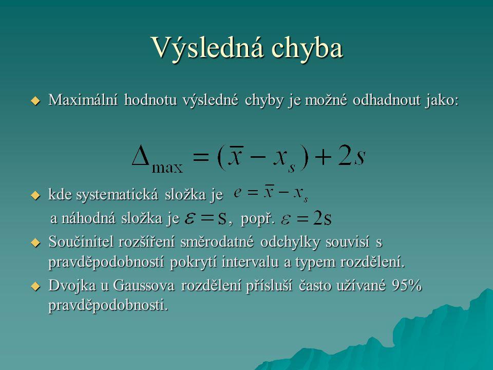 Výsledná chyba  Maximální hodnotu výsledné chyby je možné odhadnout jako:  kde systematická složka je a náhodná složka je, popř.
