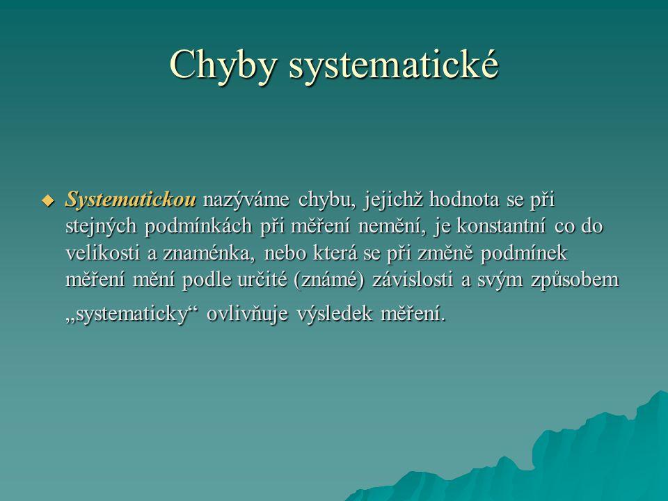 """Chyby systematické  Systematickou nazýváme chybu, jejichž hodnota se při stejných podmínkách při měření nemění, je konstantní co do velikosti a znaménka, nebo která se při změně podmínek měření mění podle určité (známé) závislosti a svým způsobem """"systematicky ovlivňuje výsledek měření."""