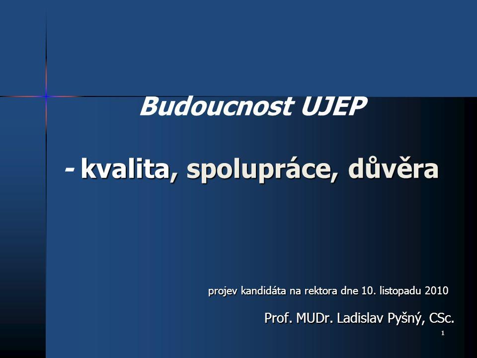 1 kvalita, spolupráce, důvěra Budoucnost UJEP - kvalita, spolupráce, důvěra Prof.
