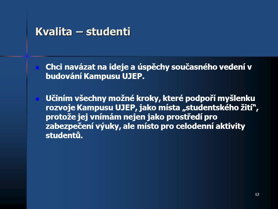 Kvalita – studenti Chci navázat na ideje a úspěchy současného vedení v budování Kampusu UJEP.