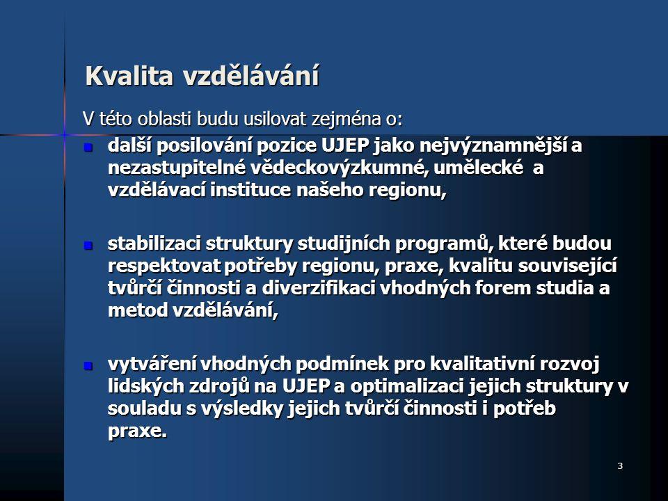 Kvalita vzdělávání V této oblasti budu usilovat zejména o: další posilování pozice UJEP jako nejvýznamnější a nezastupitelné vědeckovýzkumné, umělecké a vzdělávací instituce našeho regionu, další posilování pozice UJEP jako nejvýznamnější a nezastupitelné vědeckovýzkumné, umělecké a vzdělávací instituce našeho regionu, stabilizaci struktury studijních programů, které budou respektovat potřeby regionu, praxe, kvalitu související tvůrčí činnosti a diverzifikaci vhodných forem studia a metod vzdělávání, stabilizaci struktury studijních programů, které budou respektovat potřeby regionu, praxe, kvalitu související tvůrčí činnosti a diverzifikaci vhodných forem studia a metod vzdělávání, vytváření vhodných podmínek pro kvalitativní rozvoj lidských zdrojů na UJEP a optimalizaci jejich struktury v souladu s výsledky jejich tvůrčí činnosti i potřeb praxe.
