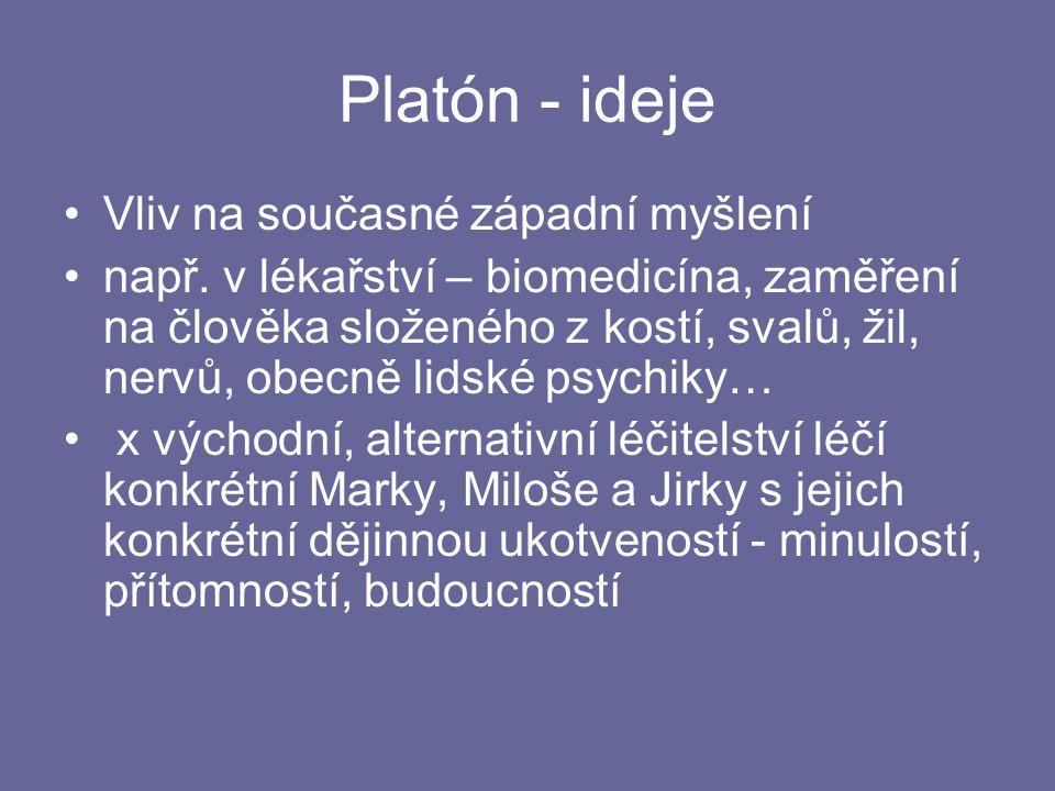 Platón - ideje Vliv na současné západní myšlení např.