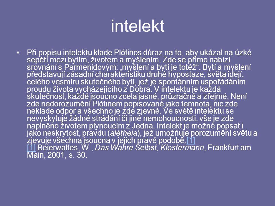 intelekt Při popisu intelektu klade Plótinos důraz na to, aby ukázal na úzké sepětí mezi bytím, životem a myšlením.