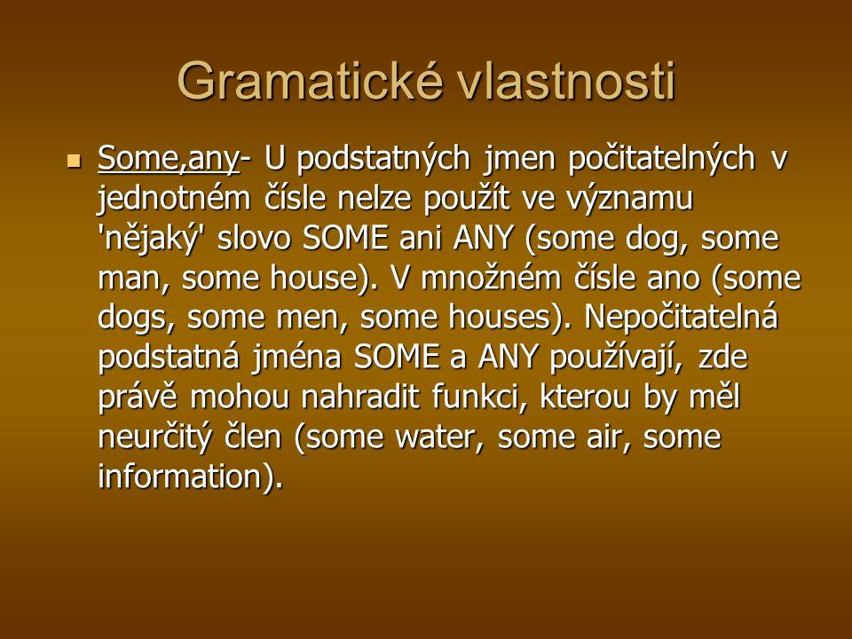 Gramatické vlastnosti Some,any- U podstatných jmen počitatelných v jednotném čísle nelze použít ve významu 'nějaký' slovo SOME ani ANY (some dog, some