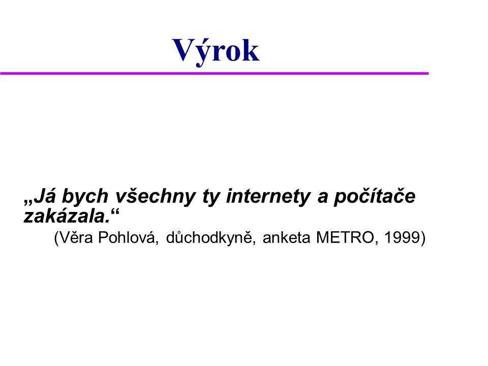 """""""Já bych všechny ty internety a počítače zakázala."""" (Věra Pohlová, důchodkyně, anketa METRO, 1999) Výrok"""