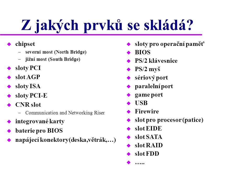Z jakých prvků se skládá? u chipset –severní most (North Bridge) –jižní most (South Bridge) u sloty PCI u slot AGP u sloty ISA u sloty PCI-E u CNR slo