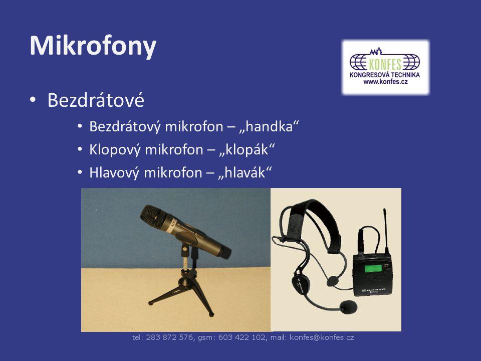 """Mikrofony Bezdrátové Bezdrátový mikrofon – """"handka Klopový mikrofon – """"klopák Hlavový mikrofon – """"hlavák"""