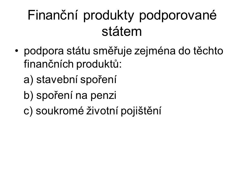 Finanční produkty podporované státem podpora státu směřuje zejména do těchto finančních produktů: a) stavební spoření b) spoření na penzi c) soukromé životní pojištění