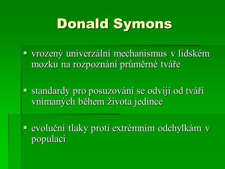 Donald Symons  vrozený univerzální mechanismus v lidském mozku na rozpoznání průměrné tváře  standardy pro posuzování se odvíjí od tváří vnímaných b