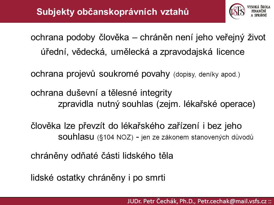 JUDr. Petr Čechák, Ph.D., Petr.cechak@mail.vsfs.cz :: Subjekty občanskoprávních vztahů ochrana podoby člověka – chráněn není jeho veřejný život úřední