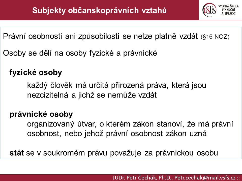 JUDr. Petr Čechák, Ph.D., Petr.cechak@mail.vsfs.cz :: Subjekty občanskoprávních vztahů Právní osobnosti ani způsobilosti se nelze platně vzdát (§16 NO