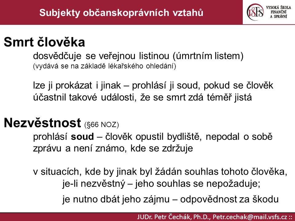 JUDr. Petr Čechák, Ph.D., Petr.cechak@mail.vsfs.cz :: Subjekty občanskoprávních vztahů Smrt člověka dosvědčuje se veřejnou listinou (úmrtním listem) (