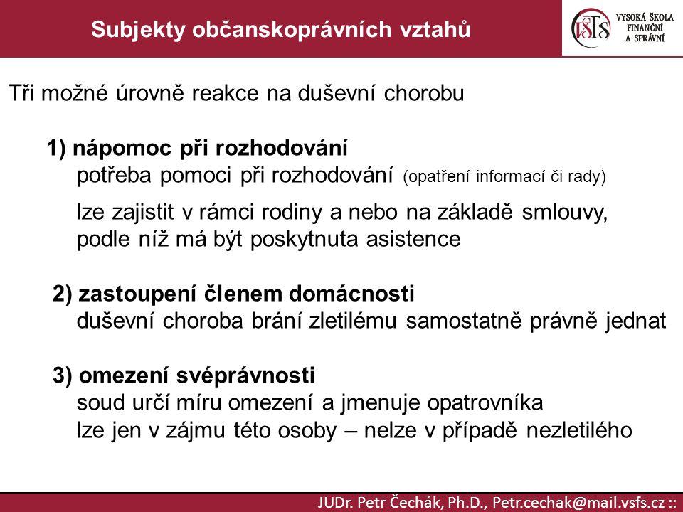 JUDr. Petr Čechák, Ph.D., Petr.cechak@mail.vsfs.cz :: Subjekty občanskoprávních vztahů Tři možné úrovně reakce na duševní chorobu 1) nápomoc při rozho