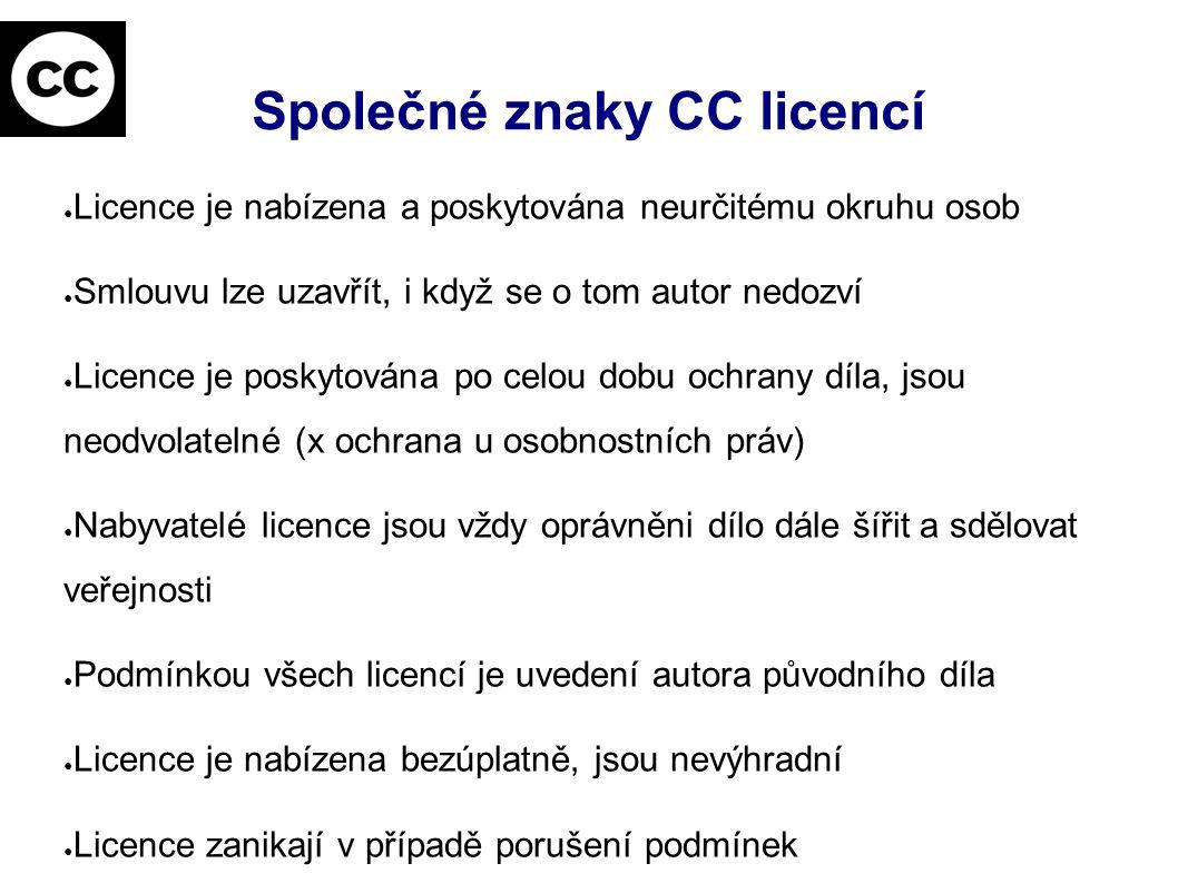 Společné znaky CC licencí ● Licence je nabízena a poskytována neurčitému okruhu osob ● Smlouvu lze uzavřít, i když se o tom autor nedozví ● Licence je