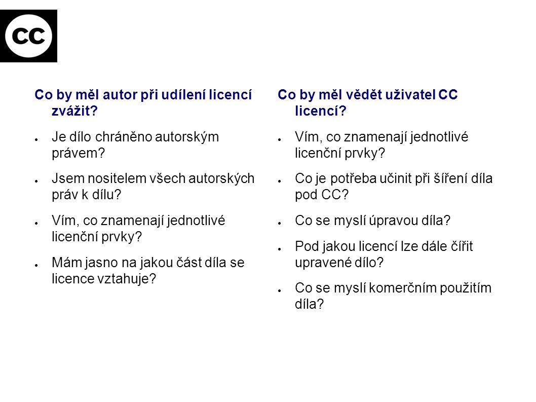 Co by měl autor při udílení licencí zvážit? ● Je dílo chráněno autorským právem? ● Jsem nositelem všech autorských práv k dílu? ● Vím, co znamenají je