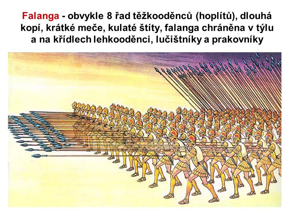 Falanga - obvykle 8 řad těžkooděnců (hoplítů), dlouhá kopí, krátké meče, kulaté štíty, falanga chráněna v týlu a na křídlech lehkooděnci, lučištníky a