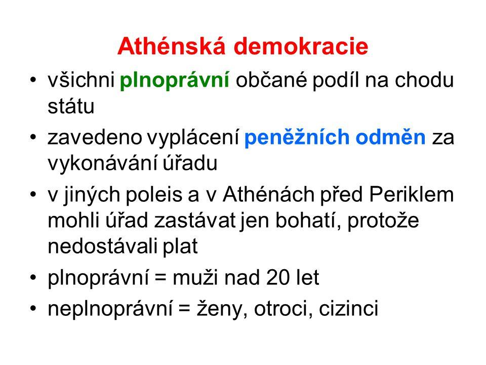 Athénská demokracie všichni plnoprávní občané podíl na chodu státu zavedeno vyplácení peněžních odměn za vykonávání úřadu v jiných poleis a v Athénách