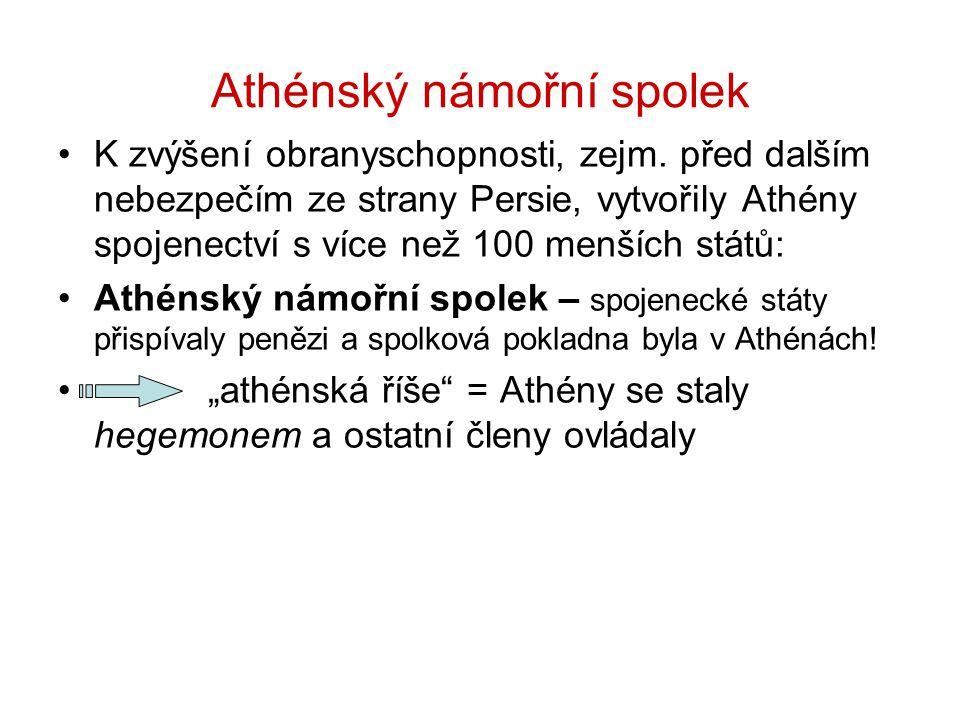 Athénský námořní spolek K zvýšení obranyschopnosti, zejm. před dalším nebezpečím ze strany Persie, vytvořily Athény spojenectví s více než 100 menších