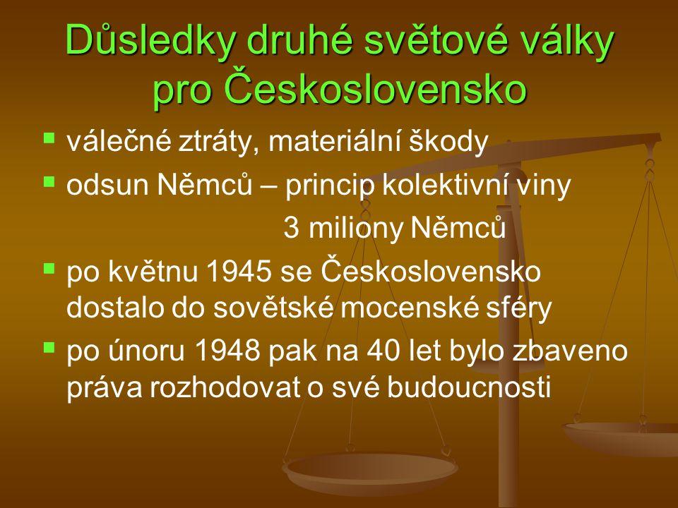 Důsledky druhé světové války pro Československo   válečné ztráty, materiální škody   odsun Němců – princip kolektivní viny 3 miliony Němců   po květnu 1945 se Československo dostalo do sovětské mocenské sféry   po únoru 1948 pak na 40 let bylo zbaveno práva rozhodovat o své budoucnosti