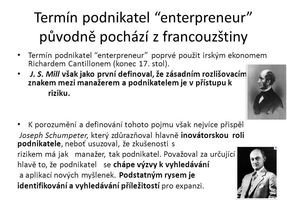Termín podnikatel enterpreneur původně pochází z francouzštiny Termín podnikatel enterpreneur poprvé použit irským ekonomem Richardem Cantillonem (konec 17.