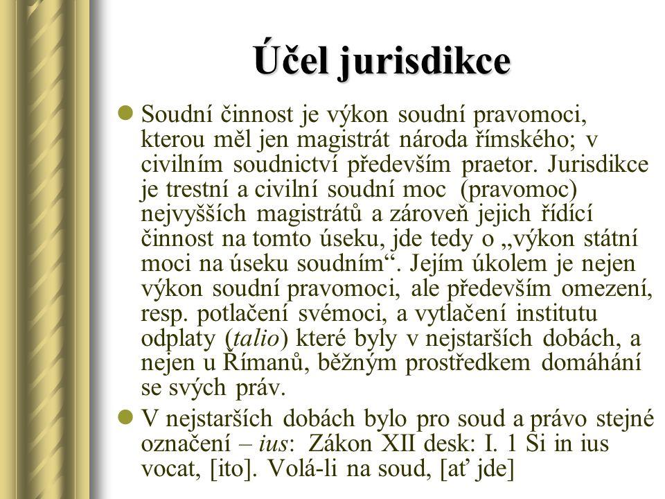 Účel jurisdikce Soudní činnost je výkon soudní pravomoci, kterou měl jen magistrát národa římského; v civilním soudnictví především praetor. Jurisdikc