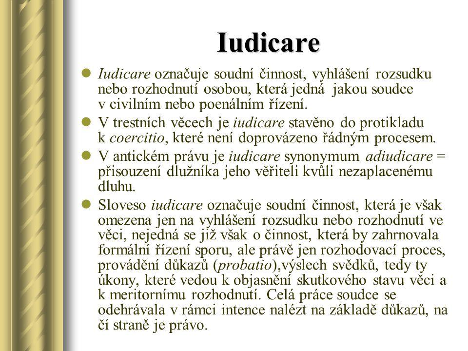 Iudicare Iudicare označuje soudní činnost, vyhlášení rozsudku nebo rozhodnutí osobou, která jedná jakou soudce v civilním nebo poenálním řízení. V tre