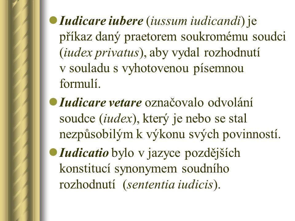 Iudicare iubere (iussum iudicandi) je příkaz daný praetorem soukromému soudci (iudex privatus), aby vydal rozhodnutí v souladu s vyhotovenou písemnou