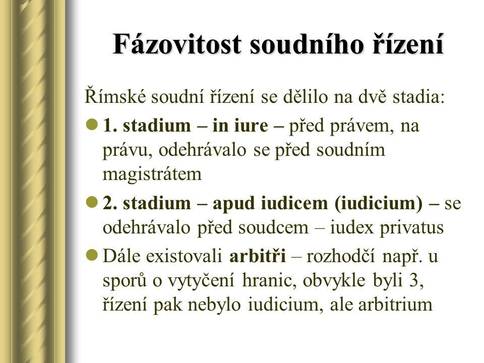 Fázovitost soudního řízení Římské soudní řízení se dělilo na dvě stadia: 1. stadium – in iure – před právem, na právu, odehrávalo se před soudním magi