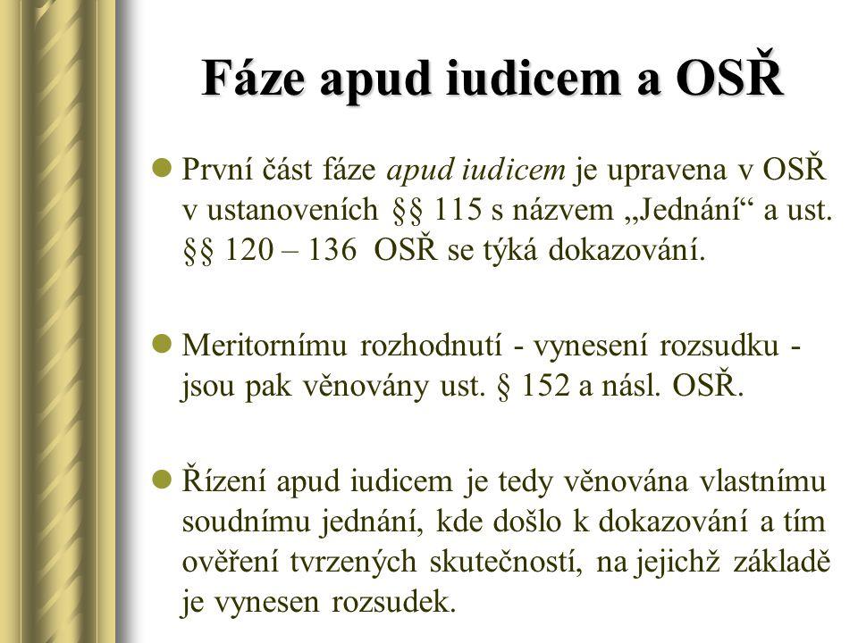 """Fáze apud iudicem a OSŘ První část fáze apud iudicem je upravena v OSŘ v ustanoveních §§ 115 s názvem """"Jednání"""" a ust. §§ 120 – 136 OSŘ se týká dokazo"""