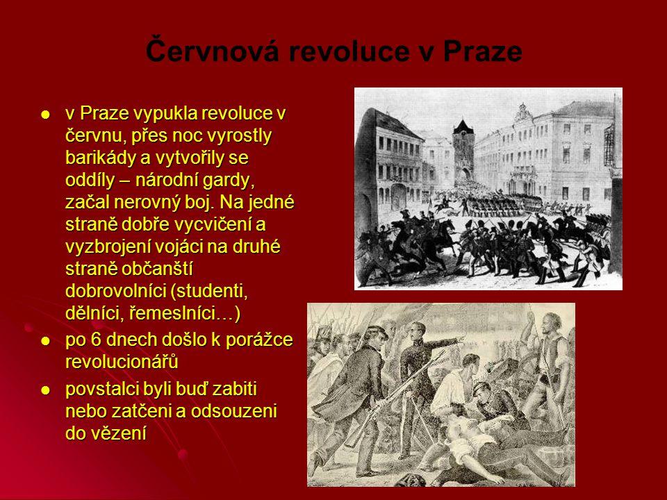 Červnová revoluce v Praze v Praze vypukla revoluce v červnu, přes noc vyrostly barikády a vytvořily se oddíly – národní gardy, začal nerovný boj.