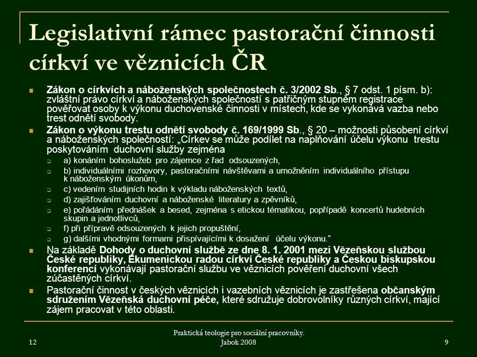 12 Praktická teologie pro sociální pracovníky.Jabok 2008 10 Souhrn 1.