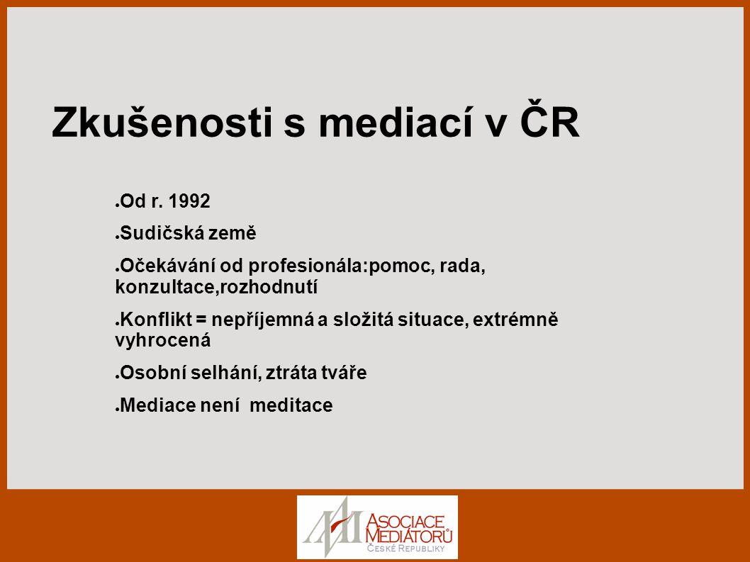 Zkušenosti s mediací v ČR ● Od r.
