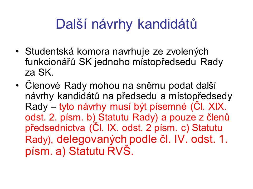 Další návrhy kandidátů Studentská komora navrhuje ze zvolených funkcionářů SK jednoho místopředsedu Rady za SK. Členové Rady mohou na sněmu podat dalš