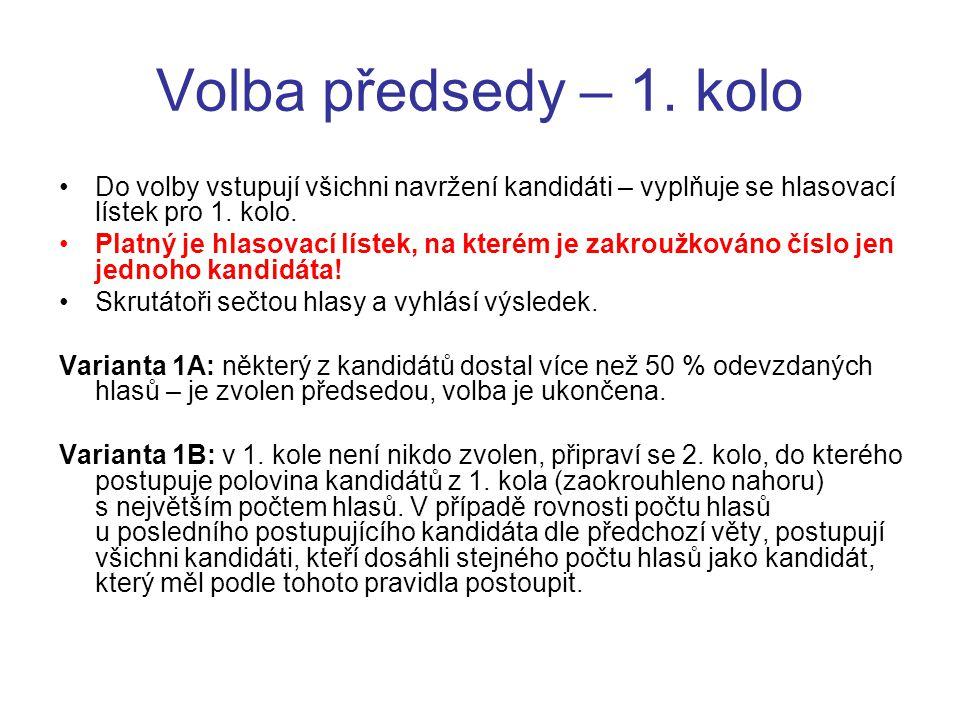 Volba předsedy – 1. kolo Do volby vstupují všichni navržení kandidáti – vyplňuje se hlasovací lístek pro 1. kolo. Platný je hlasovací lístek, na které