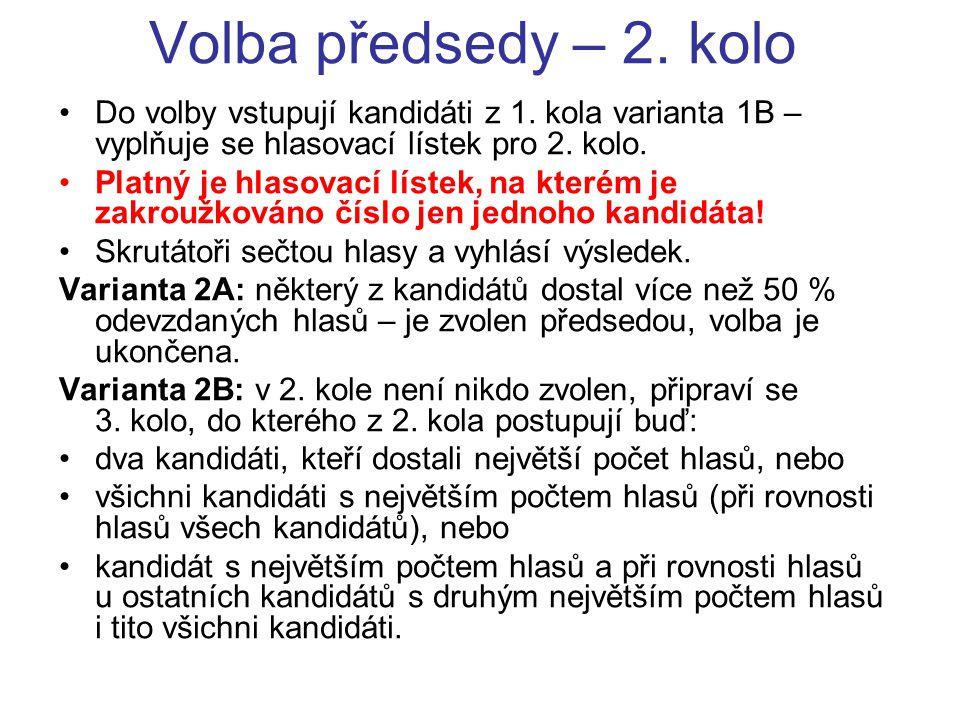 Volba předsedy – 2. kolo Do volby vstupují kandidáti z 1. kola varianta 1B – vyplňuje se hlasovací lístek pro 2. kolo. Platný je hlasovací lístek, na