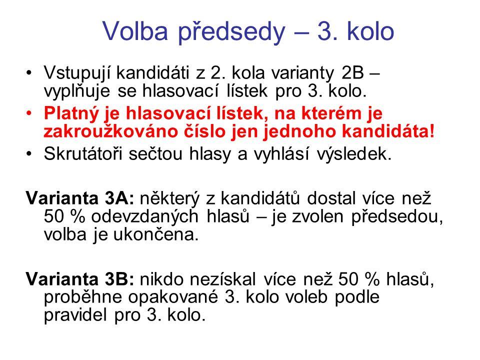 Volba předsedy – 3. kolo Vstupují kandidáti z 2. kola varianty 2B – vyplňuje se hlasovací lístek pro 3. kolo. Platný je hlasovací lístek, na kterém je
