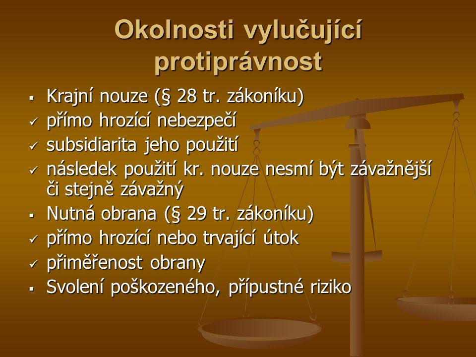 Okolnosti vylučující protiprávnost  Krajní nouze (§ 28 tr.