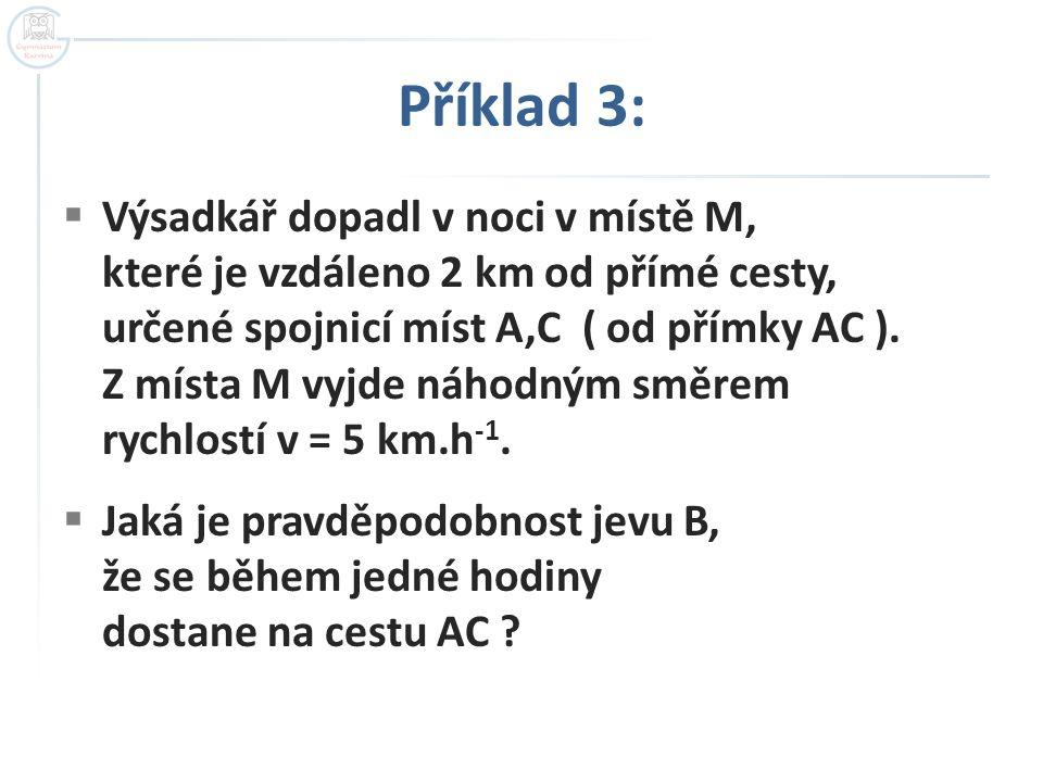Příklad 3:  Výsadkář dopadl v noci v místě M, které je vzdáleno 2 km od přímé cesty, určené spojnicí míst A,C ( od přímky AC ).