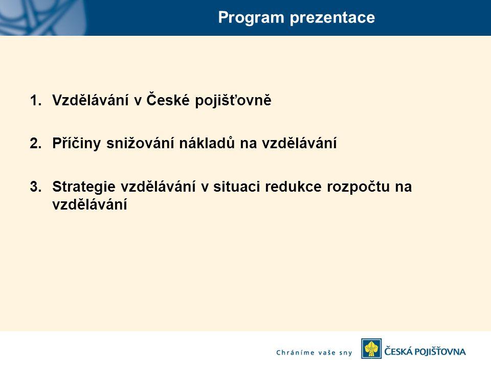 Program prezentace 1.Vzdělávání v České pojišťovně 2.Příčiny snižování nákladů na vzdělávání 3.Strategie vzdělávání v situaci redukce rozpočtu na vzdělávání