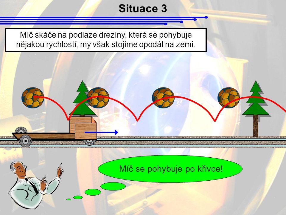 Situace 3 Míč skáče na podlaze drezíny, která se pohybuje nějakou rychlostí, my však stojíme opodál na zemi.