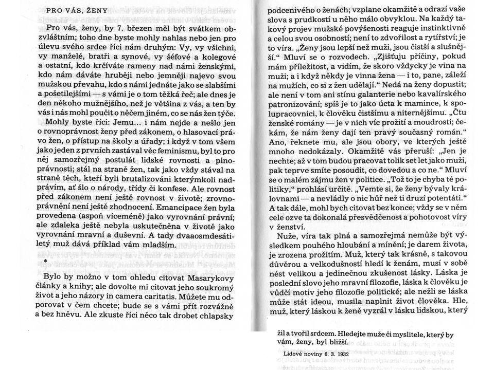 Otázky k dokumentu 1.Vztah Masaryka k ženám, jeho pohled na emancipaci a příčiny rozvodovosti.