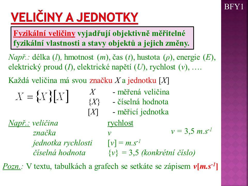 Každá veličina má svou značku X a jednotku [X] Fyzikální veličiny vyjadřují objektivně měřitelné fyzikální vlastnosti a stavy objektů a jejich změny.