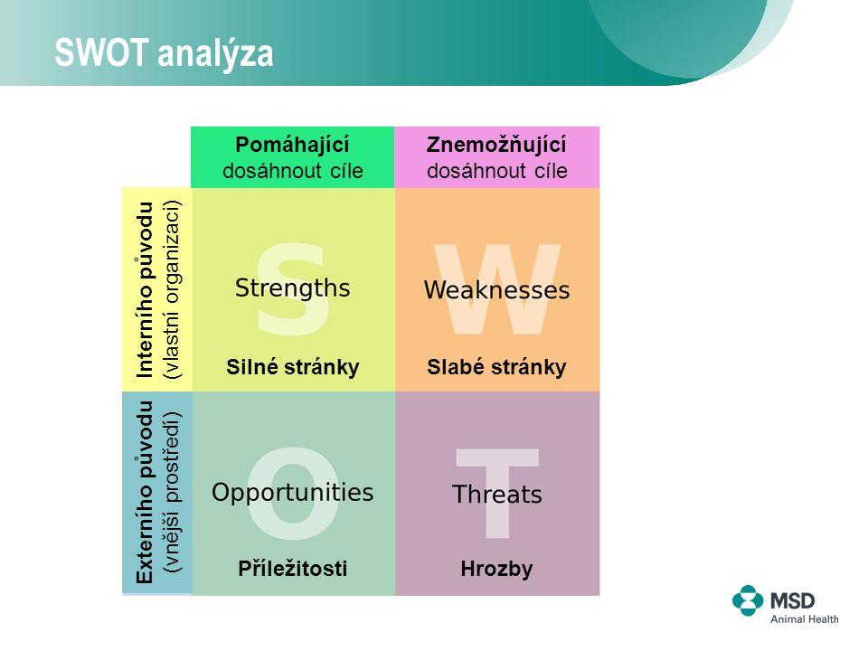 3 SWOT analýza Pomáhající dosáhnout cíle Znemožňující dosáhnout cíle PříležitostiHrozby Silné stránkySlabé stránky Interního původu (vlastní organizaci) Externího původu (vnější prostředí)