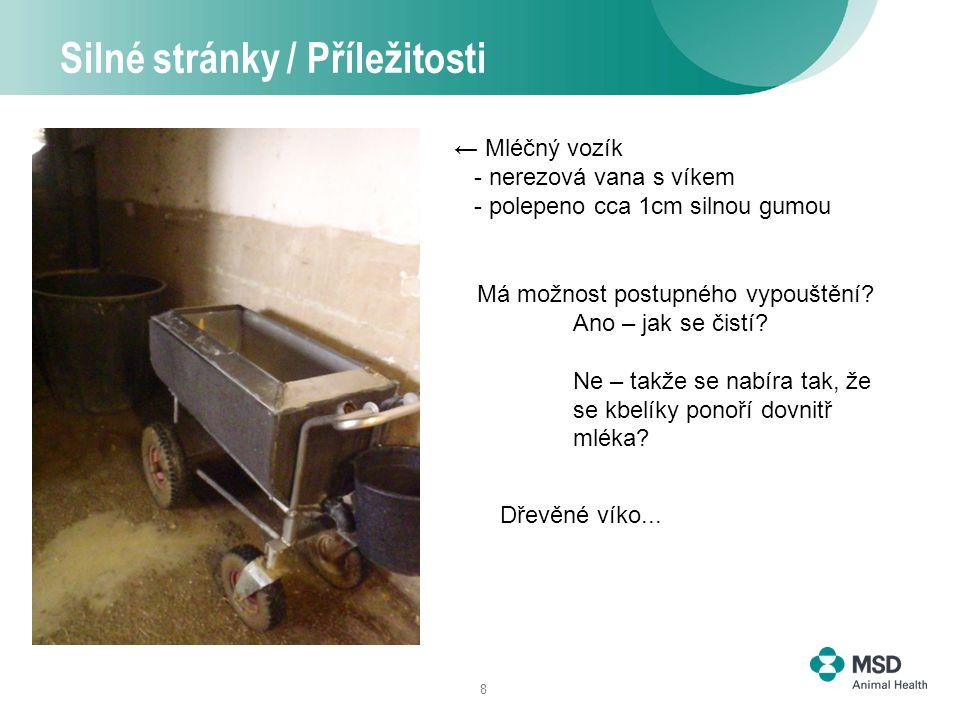 8 Silné stránky / Příležitosti ← Mléčný vozík - nerezová vana s víkem - polepeno cca 1cm silnou gumou Má možnost postupného vypouštění.