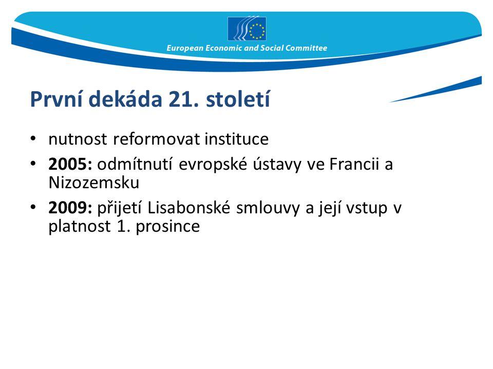 První dekáda 21. století nutnost reformovat instituce 2005: odmítnutí evropské ústavy ve Francii a Nizozemsku 2009: přijetí Lisabonské smlouvy a její