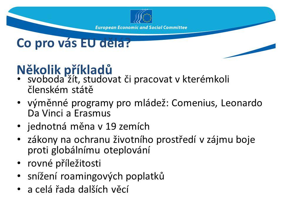 Co pro vás EU dělá? Několik příkladů svoboda žít, studovat či pracovat v kterémkoli členském státě výměnné programy pro mládež: Comenius, Leonardo Da