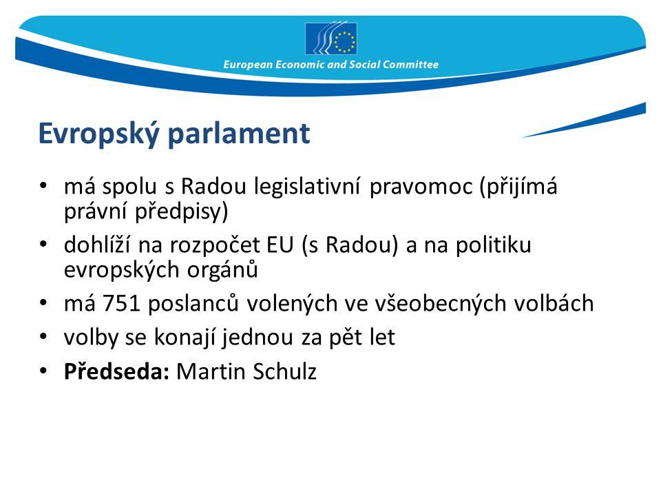 Evropský parlament má spolu s Radou legislativní pravomoc (přijímá právní předpisy) dohlíží na rozpočet EU (s Radou) a na politiku evropských orgánů m