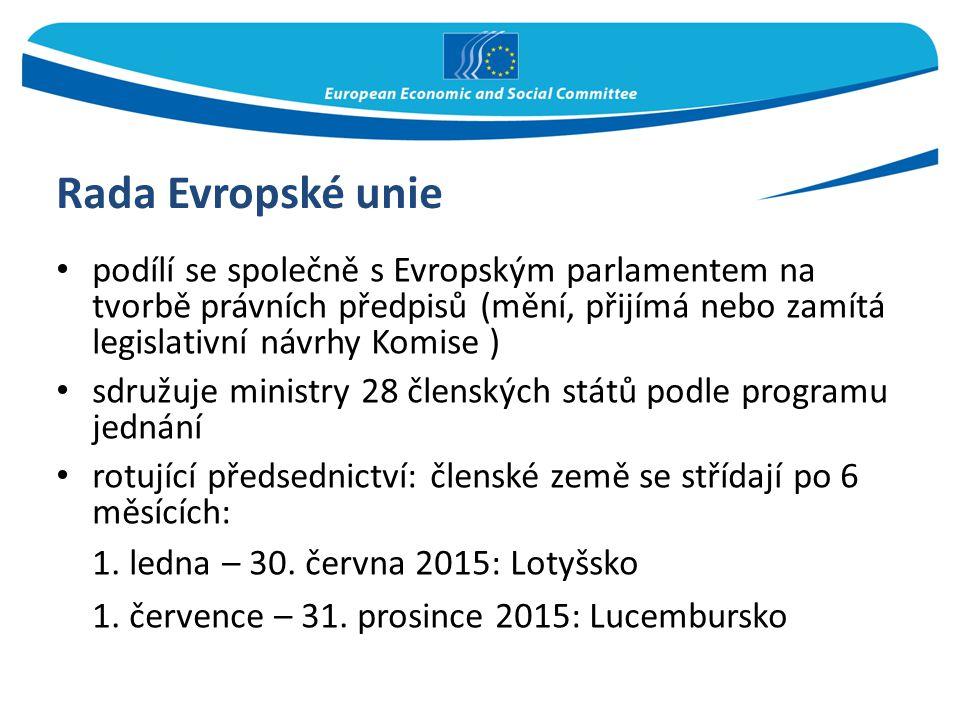 Rada Evropské unie podílí se společně s Evropským parlamentem na tvorbě právních předpisů (mění, přijímá nebo zamítá legislativní návrhy Komise ) sdru