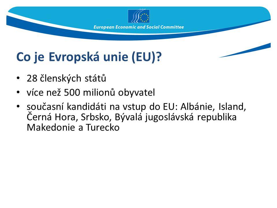 Co je Evropská unie (EU)? 28 členských států více než 500 milionů obyvatel současní kandidáti na vstup do EU: Albánie, Island, Černá Hora, Srbsko, Býv